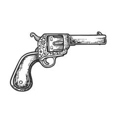vintage cowboy revolver engraving vector image