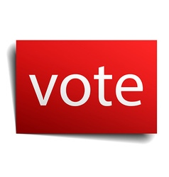Vote red paper sign on white background vector