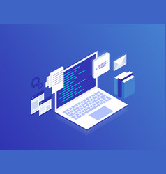 Web development concept programming and coding vector