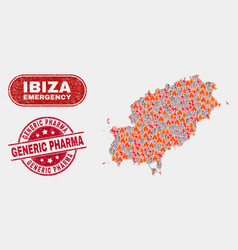 Wildfire and emergency collage ibiza island map vector