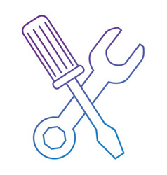 wrench with screwdriver tools vector image