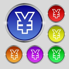 Yen JPY icon sign Round symbol on bright colourful vector