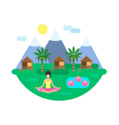 Yoga classes in nature concept vector