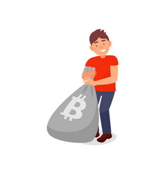 young smiing man with bag full bitcoins vector image