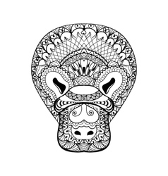 Zentangle Platypus head totem for adult anti vector image