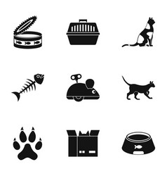 Cat toys icons set simple style vector