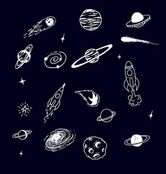 collection of space cosmic object vector image