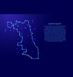 map chicago city from the contours network blue vector image