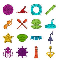 nautical icons doodle set vector image