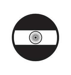 Stylish black and white icon flag of india vector