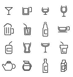thin line icons - beverages vector image