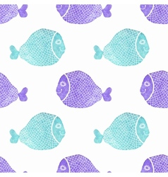 Watercolor seamless pattern with fish on the white vector image