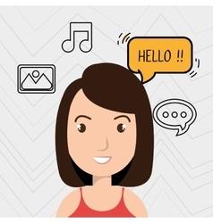 Woman speak bubble music vector