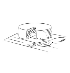 Block of cheese and knife on a white background vector