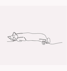 Continuous line drawing of cat lying vector