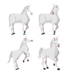 horse white unicorn character set vector image