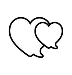 Love bubbles speech heart valentine outline vector