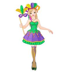 Mardi Gras girl vector image vector image