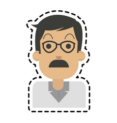 middle age man with glasses and mustache icon vector image vector image