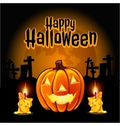 Pumpkin and candles to the cemetery on Halloween vector image vector image