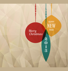 Retro christmas card with christmas decorations vector