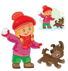 small girl playing snowballs vector image vector image