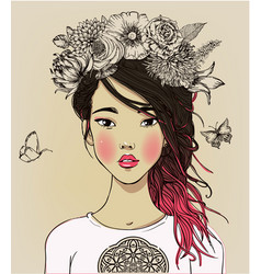 young beautiful asian woman with flowers vector image vector image