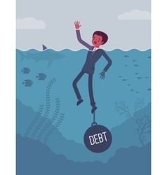 Businessman drowning chained with a weight Debt vector image vector image