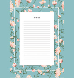 Flowers poster template to do list with a bouquet vector