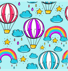 seamless pattern with balloon stars rainbow vector image