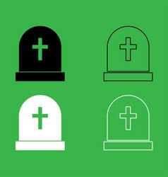 tomb stone icon black and white color set vector image