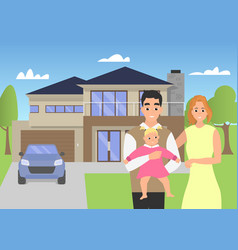 Young family in the background of his modern home vector