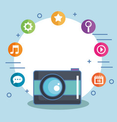 Camera with social media icons isolated vector