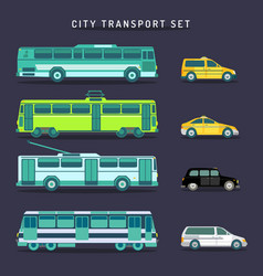 city transport set in flat style urban vector image
