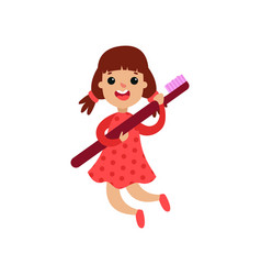 cute little girl character holding giant vector image