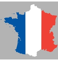 Map of France with an official national flag vector image