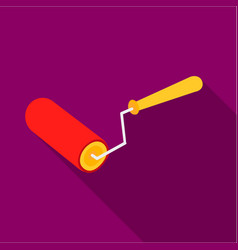 paint roller icon in flate style isolated on white vector image