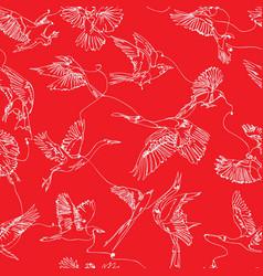 single line bird drawings seamless pattern vector image