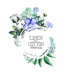 Watercolor linen and cotton vector image