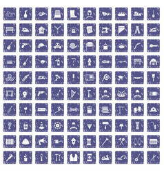100 tools icons set grunge sapphire vector