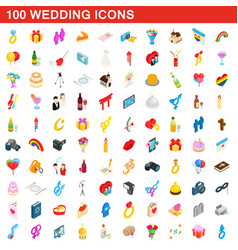 100 wedding icons set isometric 3d style vector image vector image