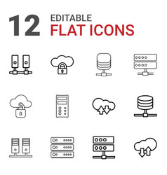 12 hosting icons vector