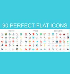 90 modern flat icon set of medicine fitness vector image