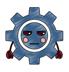 angry gear kawaii icon image vector image