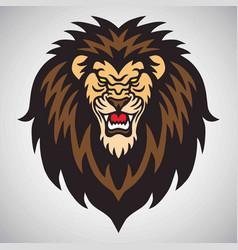 angry lion roaring logo mascot vector image