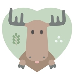 Animal set Portrait of a moose in love Flat vector