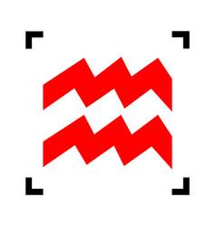 Aquarius sign red icon vector