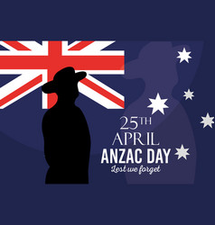 australian flag soldier poster anzac day lest we vector image