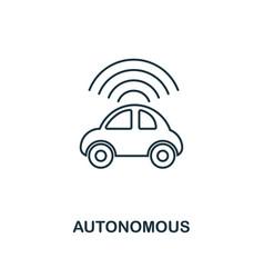 Autonomous icon thin line style industry 40 vector