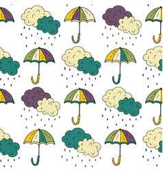 Autumn seamless pattern with umbrellas vector